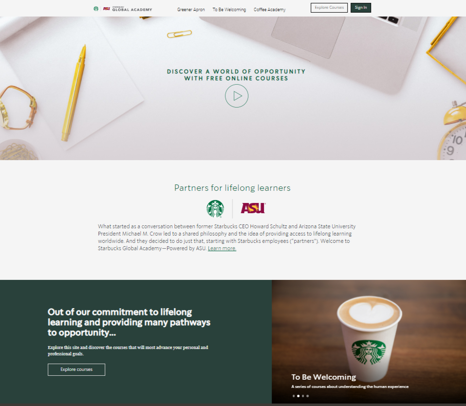 Screenshot of Starbucks Global Academy website
