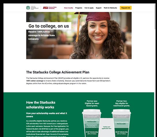 Screenshot of the Starbucks college achievement plan